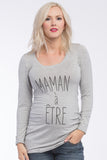 "Frenchie Tee ""Mom To Be"" Grey Long Sleeves"