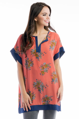 Caftan Top - Terracotta Floral