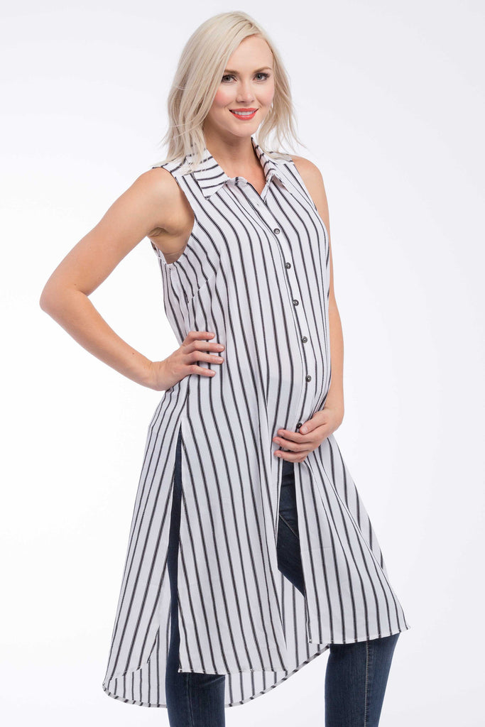 Button Down Tunic Top in White Black Stripe is perfect for pregnant women, nursing women, and women.