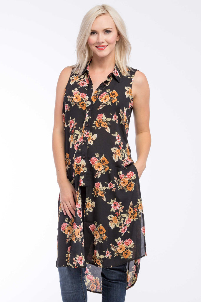 Button Down Tunic Top in Black/Gold Floral (Print) is perfect for pregnant women, nursing women, and women.