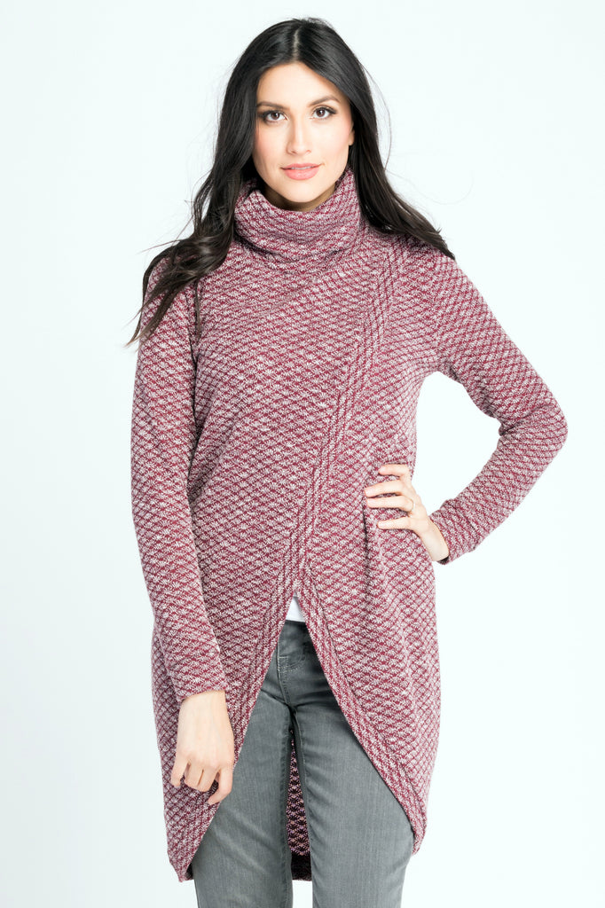 Nursing Sweater Tunic w/ Cowl Neck - Burgundy Geo
