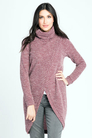 Sweater Tunic - Burgundy Geo