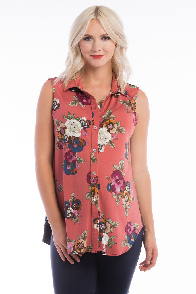 Button Down Top Rose Floral