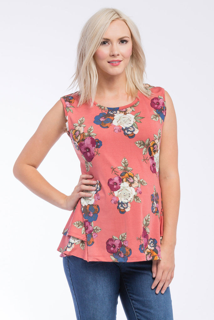 Peplum Top Rose Floral