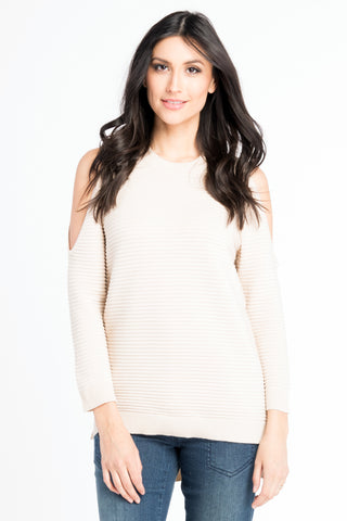 Cold Shoulder Ribbed Sweater - Ivory