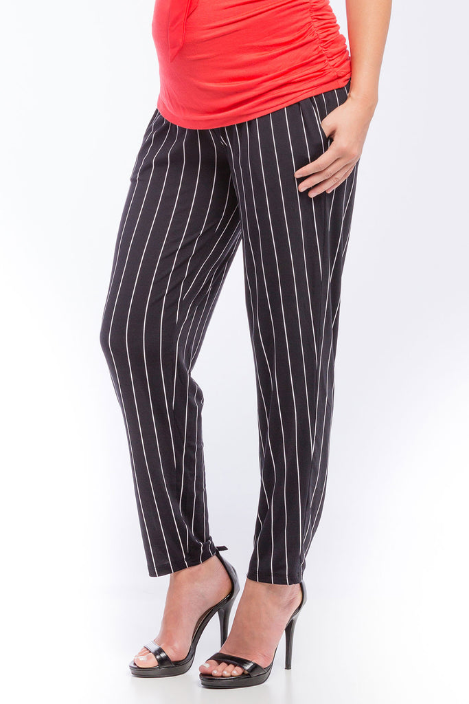 Ankle Pant Black/Ivory Vertical Stripe