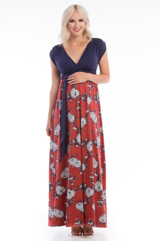 Cap Sleeve Crossover Nursing Maxi Dress Navy/Terracotta Floral