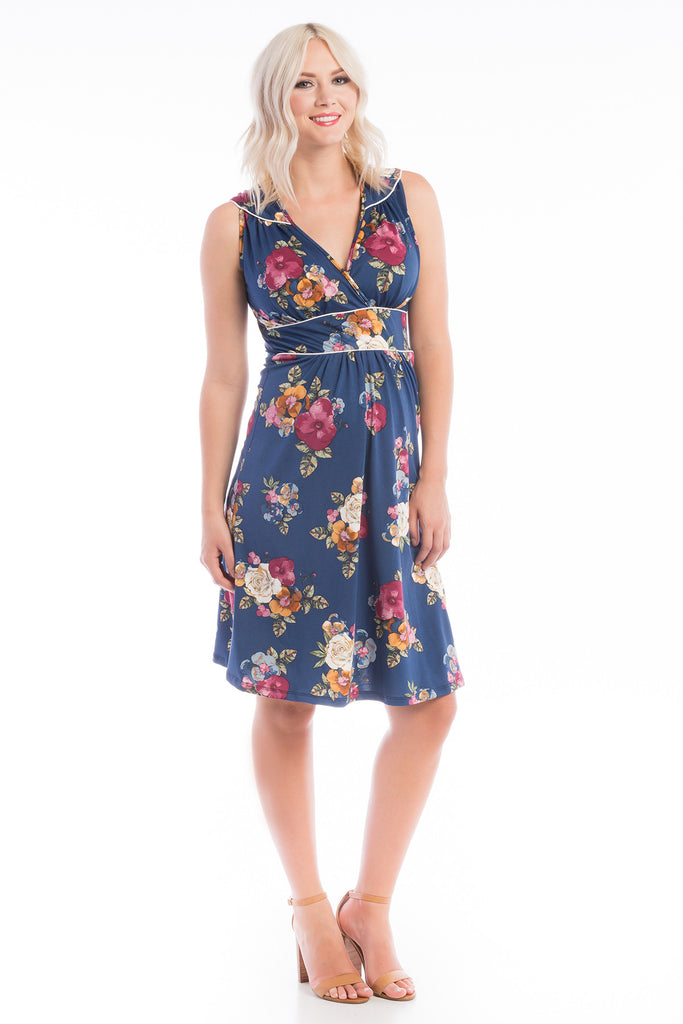 Nursing Dress w/ Piping Navy Floral