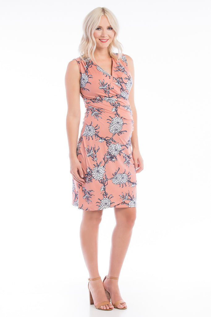 Faux Wrap Nursing Dress Blush Floral