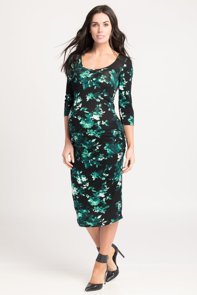 Ruched Bodycon Dress Teal Floral