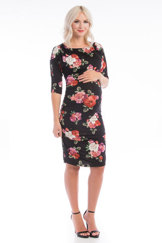 Boatneck Bodycon Dress Black Floral