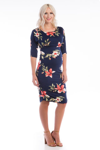 Boatneck Bodycon Dress Navy Floral