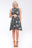 Mock Swing Dress Olive Floral