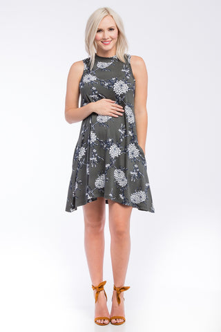 Sleeveless Mock Swing Dress w/ Pockets Olive Floral