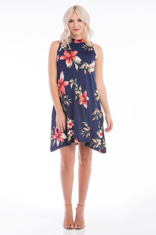 Sleeveless Mock Swing Dress w/ Pockets Navy Floral