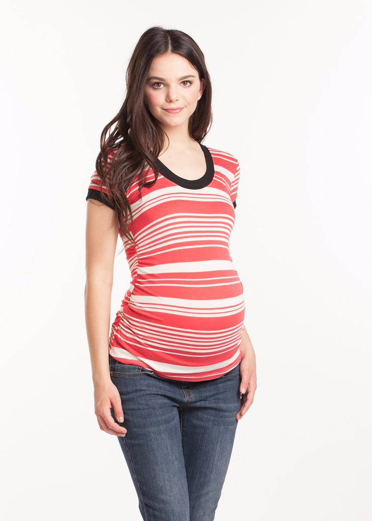 Hailey Top Coral Ivory Stripe with Black Ringer