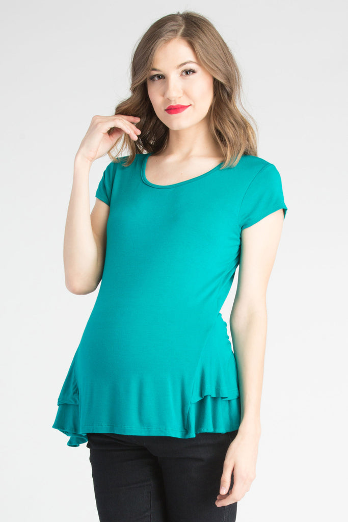 Peplum Top Aqua