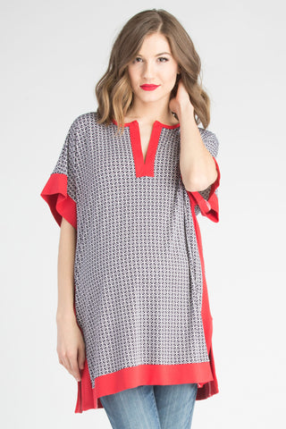 Caftan Top/Swimsuit Coverup Tomato/Navy
