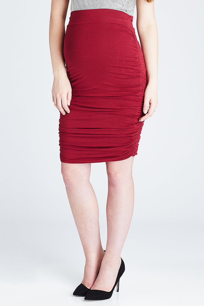 Ruched Midi Skirt Ruby