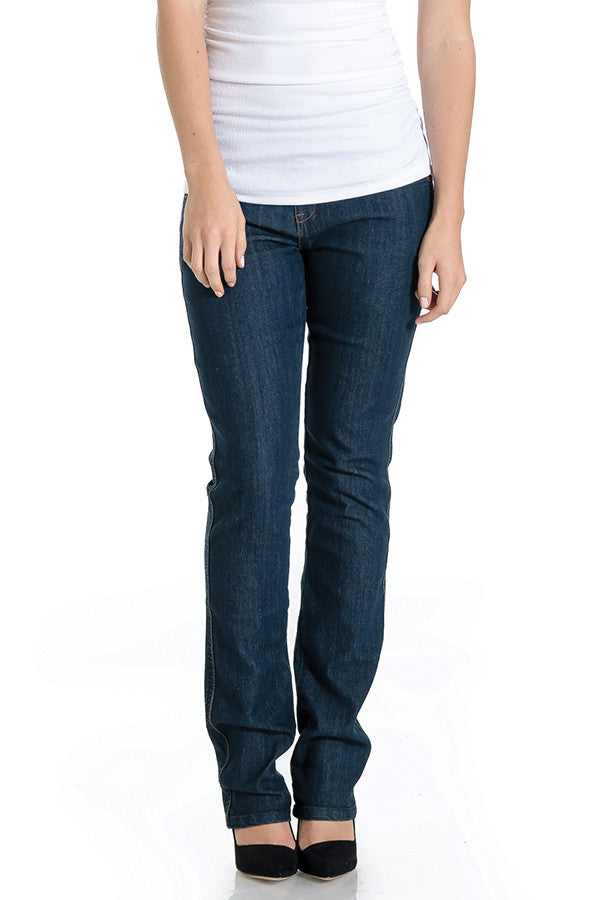 Vintage dark wash straight leg jeans with belly band that works for figure-shaping or maternity.
