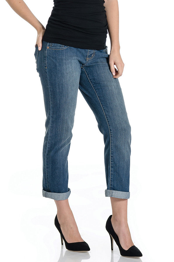 Medium boyfriend jean with belly band that works for figure-shaping or maternity.  Cuffed hem or can be uncuffed to make it a straight leg jean.