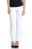 White denim skinny jeans with belly band that works for figure-shaping or maternity.
