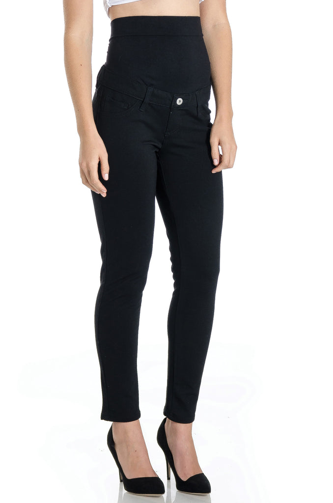 Dressy black ponte pants with five pockets and black belly band that works for figure-shaping or maternity.