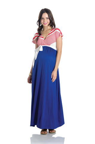 Jill Maxi Dress Coral/Cobalt