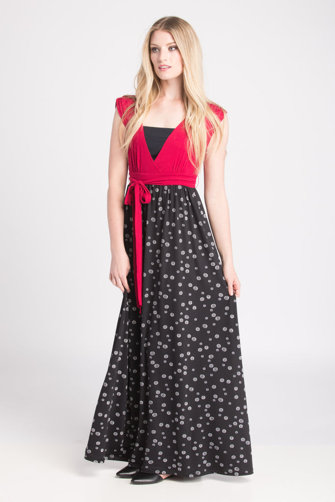 Nursing Maxi Dress - Fucshia/Black