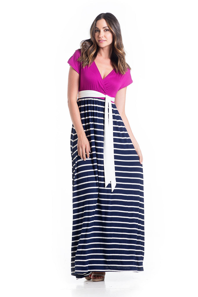 The Jill Maxi in Magenta on the top and Navy Ivory stripe for the skirt is an ankle-length maxi dress with capped sleeves.  The neckline is perfect for nursing.  The material and cut of the dress works great for women and maternity.