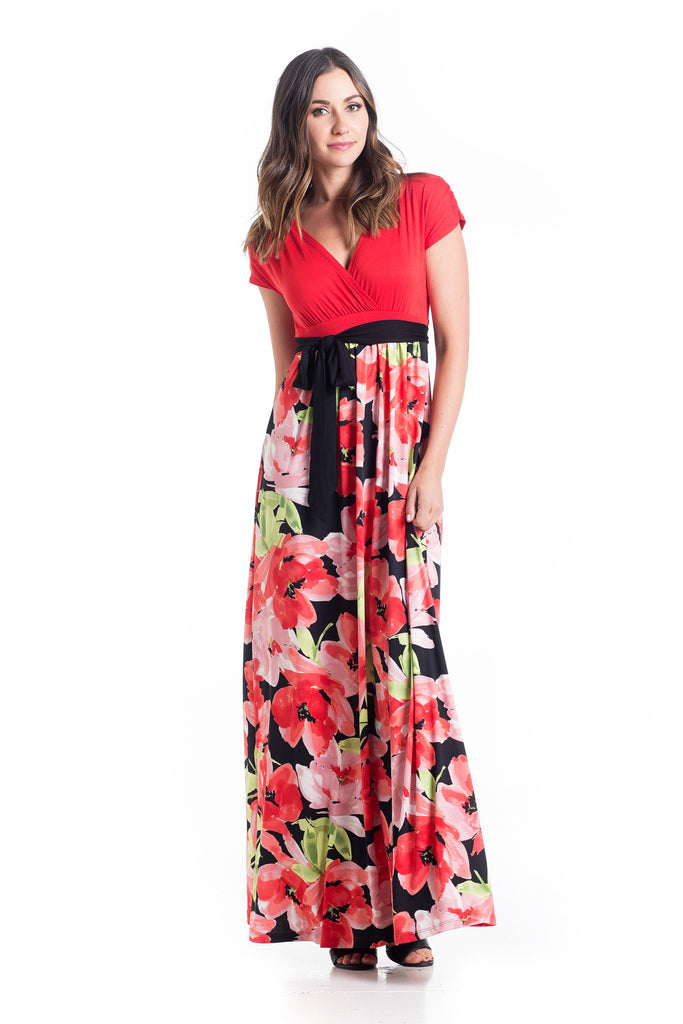 The Jill Maxi in Tomato on the top and Floral for the skirt is an ankle-length maxi dress with capped sleeves.  The neckline is perfect for nursing.  The material and cut of the dress works great for women and maternity.