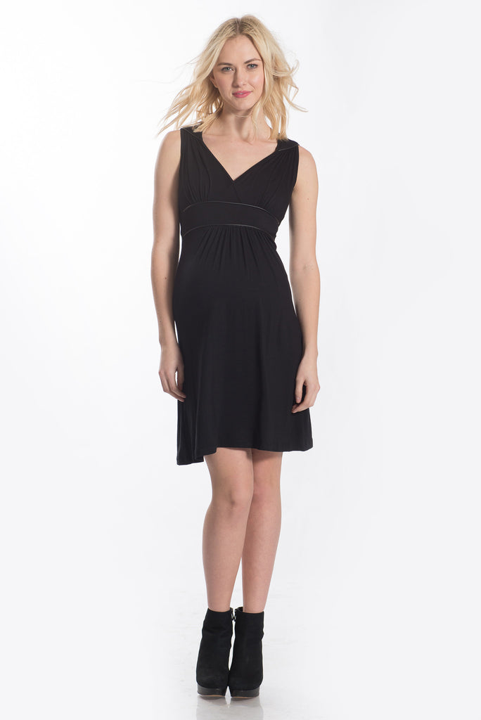 The Black Katherine Dress is sleeveless with a surplice top that is nursing friendly.  It is perfect for women, maternity, and nursing moms.