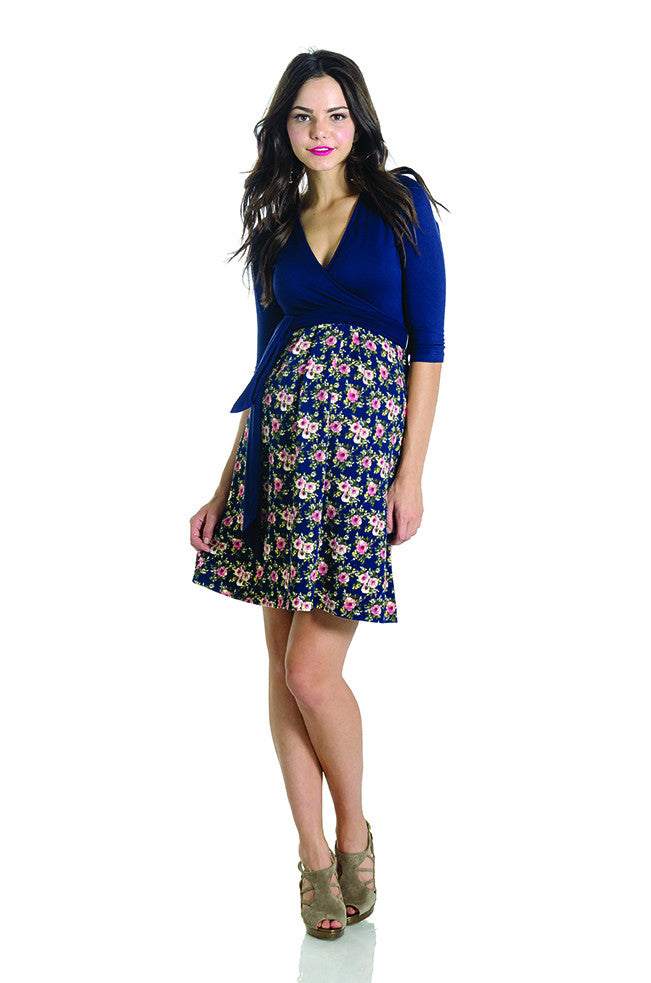 Abby Dress Navy/Floral Combo