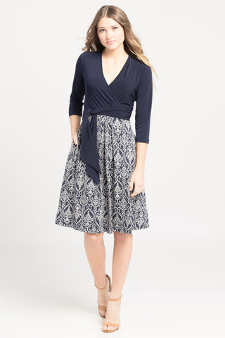 Surplice Dress - Navy Damask Color Block
