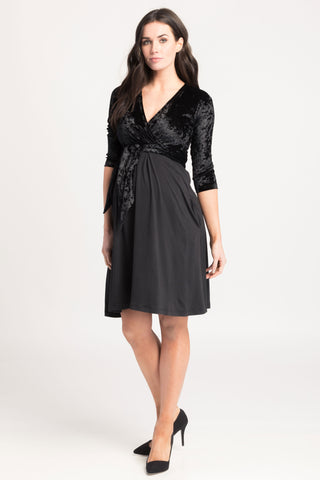 Crossover Nursing Dress w/ Pockets Black Velvet