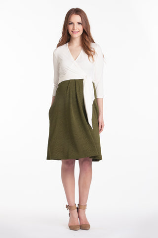 Abby Dress Ivory/Olive Combo