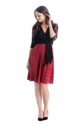 Black/Plaid Combo surplice belted dress with pockets.  The Abby Dress is an A-line dress with 3/4 length sleeves and pleats at the waist give a figure flattering line. Crossover neckline works great for nursing.  The material and cut make this dress work for women, maternity, and nursing.