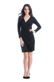 The Brynley Dress in Black Jersey is a faux-wrap dress with scoop-front hem and pleats along the side offer maximum flattery to the body making a great dress for women and maternity.  The cross-over neckline also works great for nursing.