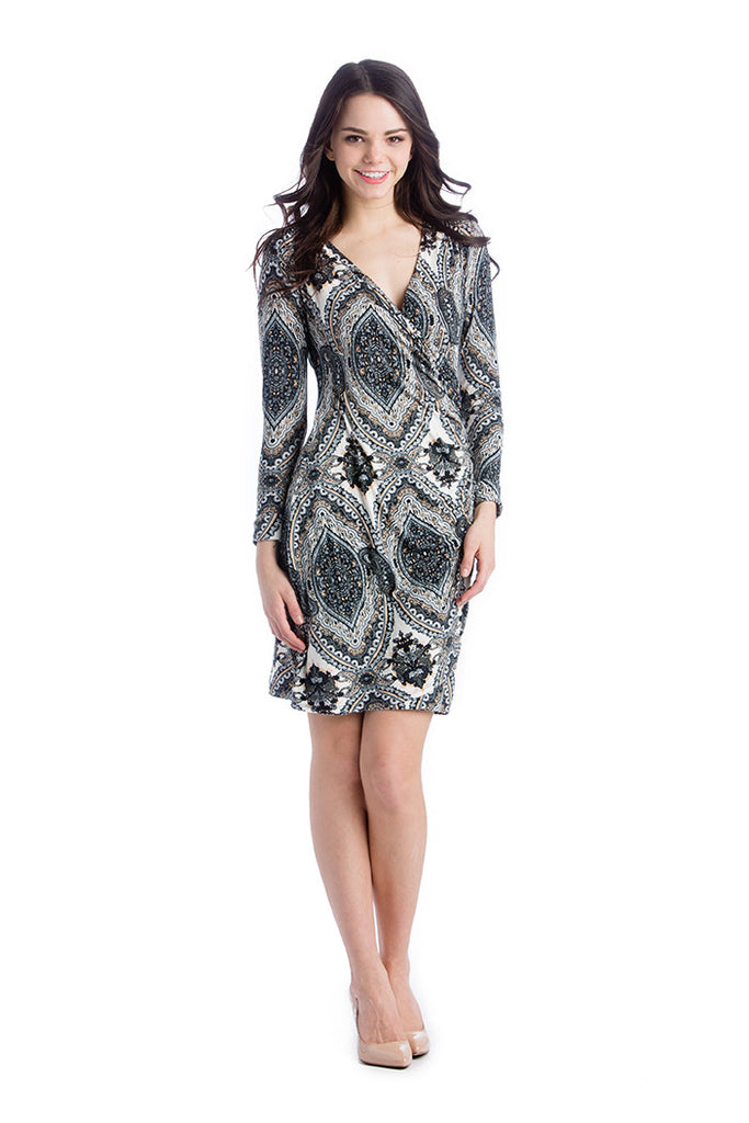 The Brynley Dress in Grey Paisley Print is a faux-wrap dress with scoop-front hem and pleats along the side offer maximum flattery to the body making a great dress for women and maternity.  The cross-over neckline also works great for nursing.