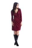 The Brynley Dress in Marsala Red Sweater is a faux-wrap dress with scoop-front hem and pleats along the side offer maximum flattery to the body making a great dress for women and maternity.  The cross-over neckline also works great for nursing.