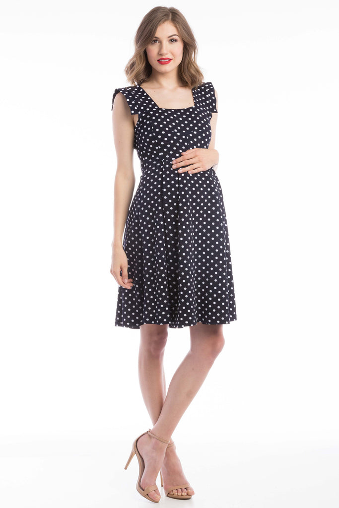 The Rachel Dress in Navy/White Polka Dot (Blue Print) is a classic 50's style dress with square neck and perfectly placed style-lines give a structured look while being soft and feminine with straight capped sleeves.  The material and cut make this dress work for women and maternity.