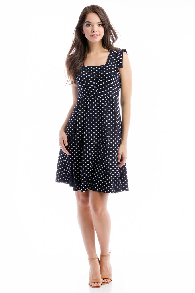 Rachel Dress - Navy/White Polka Dot
