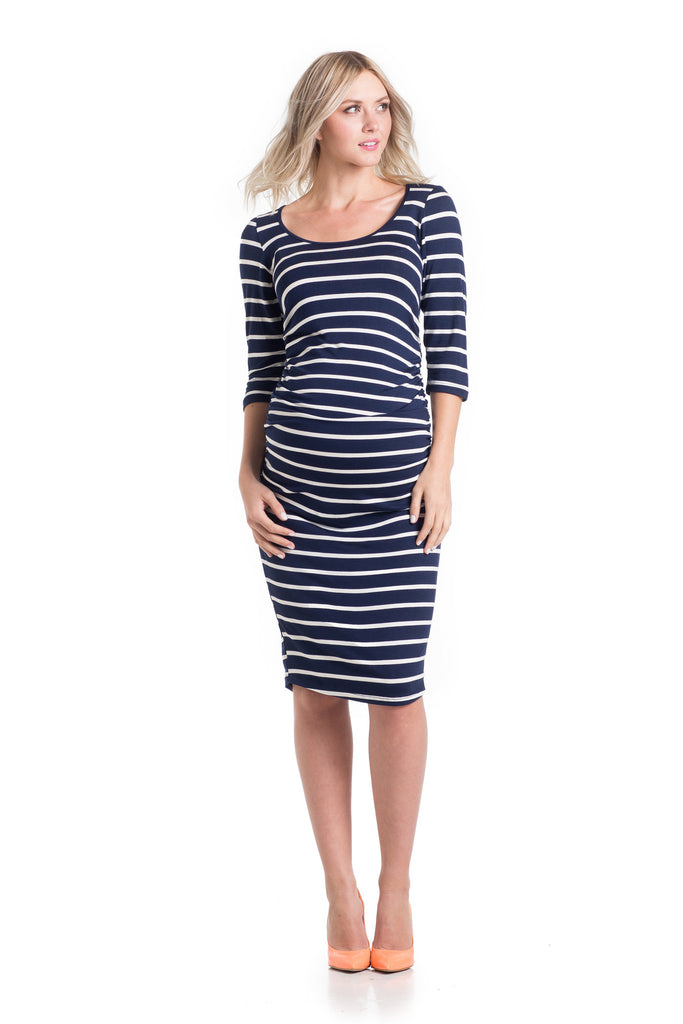 Midi Body Con Navy/Ivory Stripe