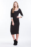 Midi Body Con Dress - Black/Grey
