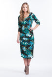 Midi Body Con Dress - Blue Floral