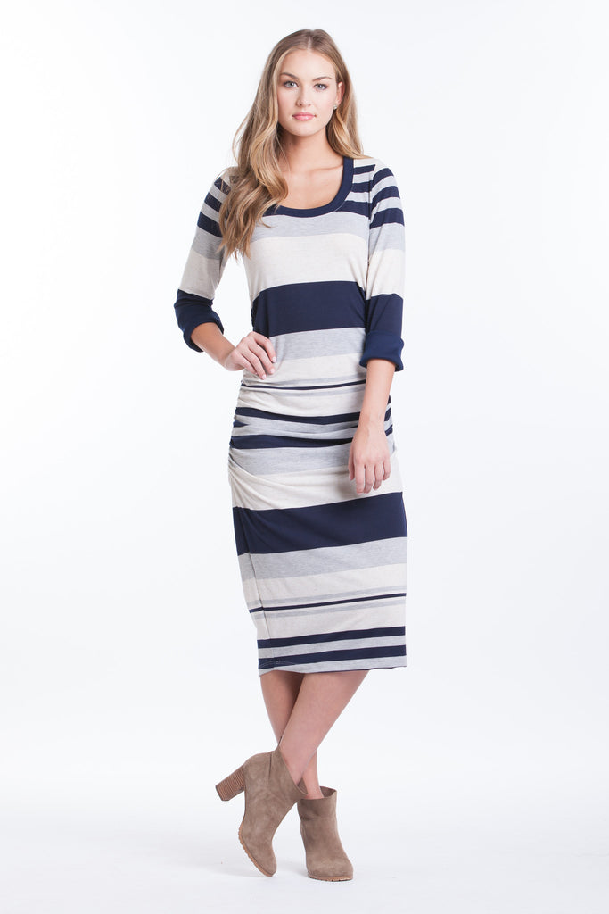 Midi Body Con Dress - Navy/Grey Stripe