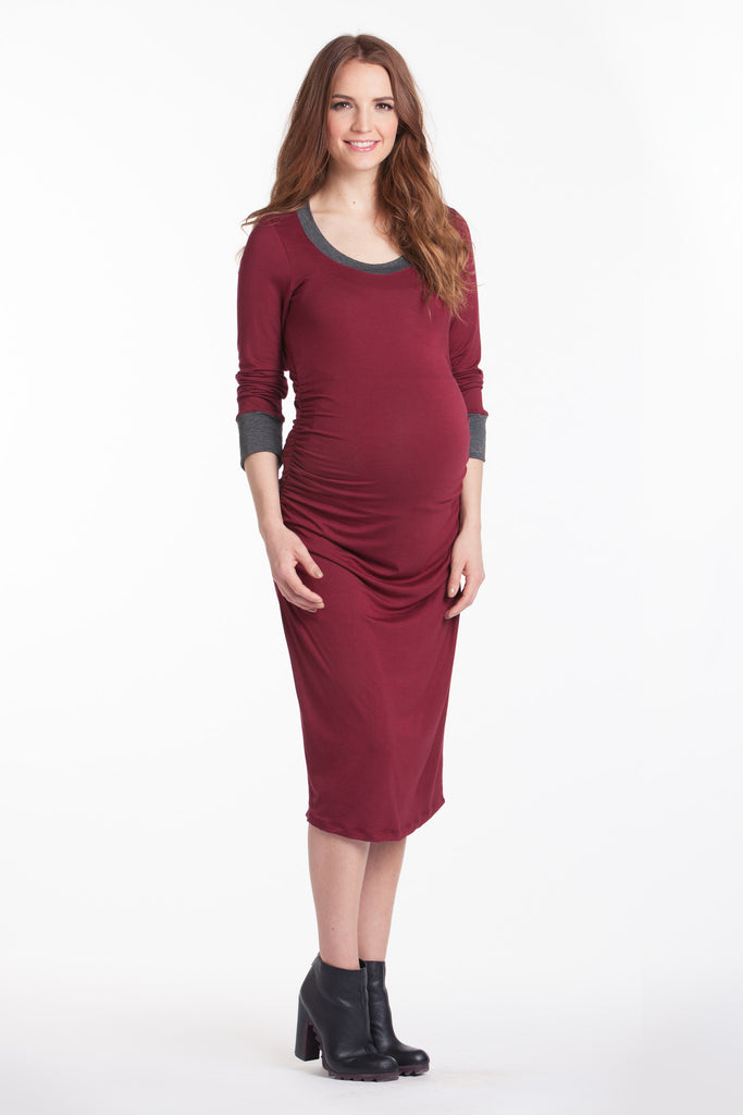 Midi Body Con Dress Ruby/Charcoal