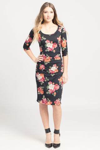 Ruched Bodycon Dress w/ Scoop Neck - Black Floral