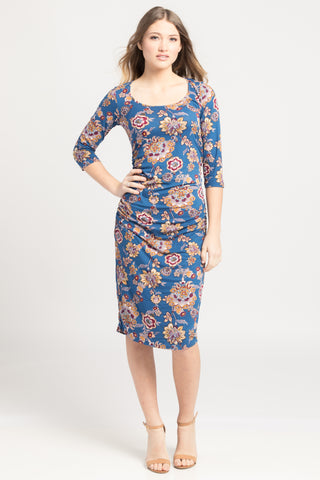 Ruched Bodycon Dress - Blue Paisley Floral