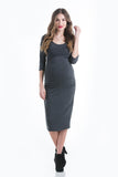 The Grey Midi Body Con Dress is a form-fitting dress that hits just below the knee. This dress features a feminine scoop neckline, ruching to hide side bumps, and three-quarter sleeves. Style is designed to wear before, during and after pregnancy.